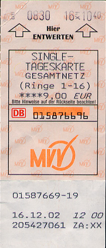 The front of a ticket