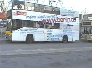 An advertisement on a bus