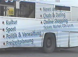 Close-up of an advertisement on a bus