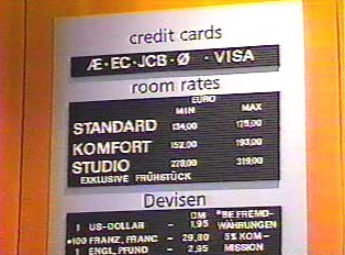 Accepted credit cards and room prices