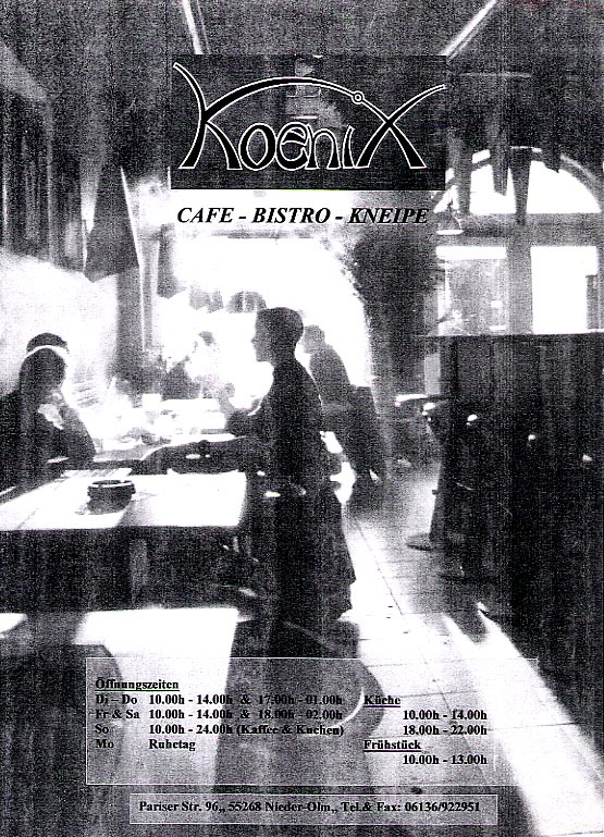 Cover page of a cafe-bistro menu