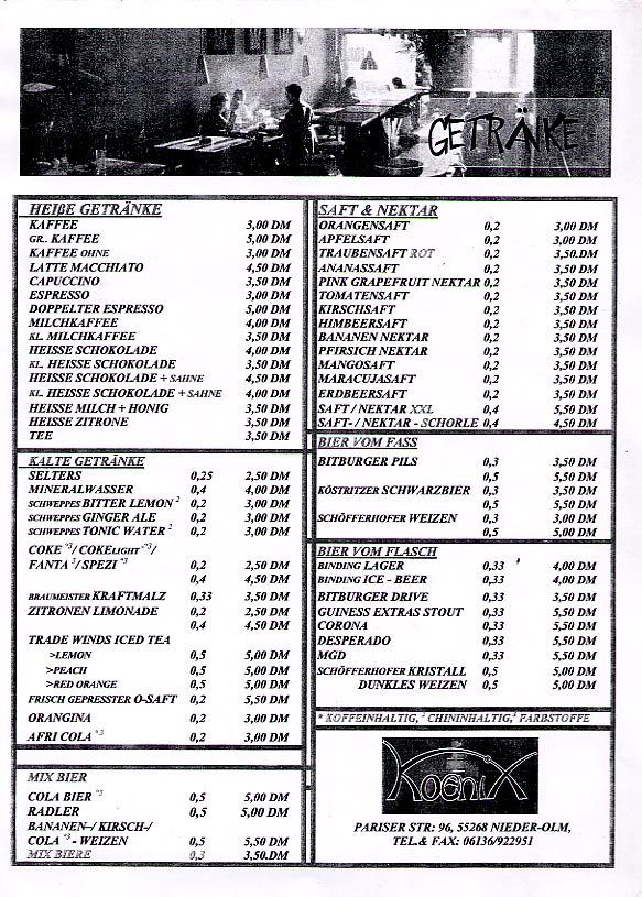 Third page of a cafe-bistro menu