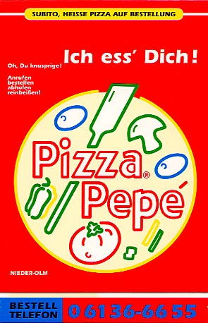 Cover page of a pizza menu