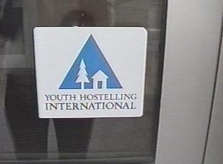 International hostel sign in English
