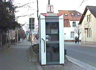 A public phone booth
