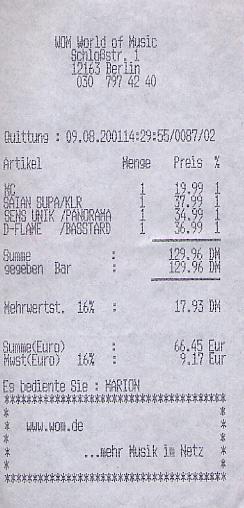 Music store receipt