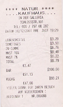 Health food store receipt