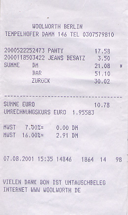 Department store receipt