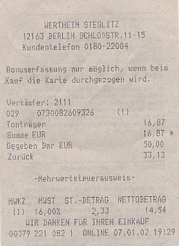 Receipt for an electronics purchase
