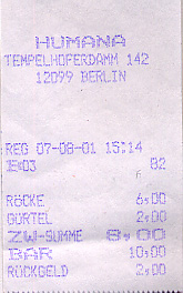 Clothing store receipt