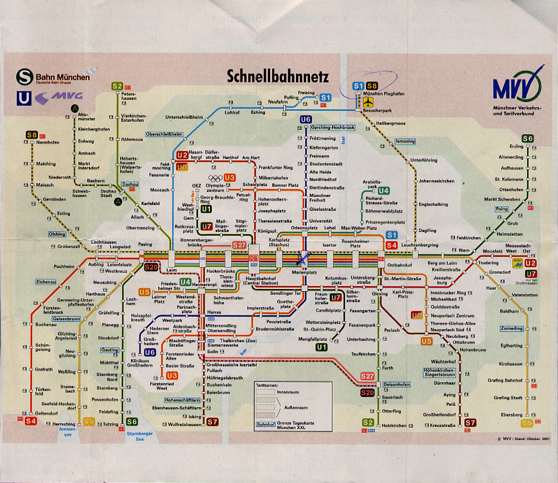 Map of U-Bahn and S-Bahn Routes in Munich