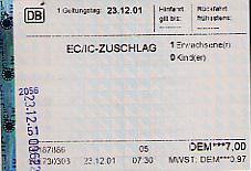 An intercity train ticket