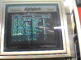 Screen lists train departure times