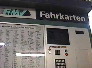 Destinations listed on a ticket machine