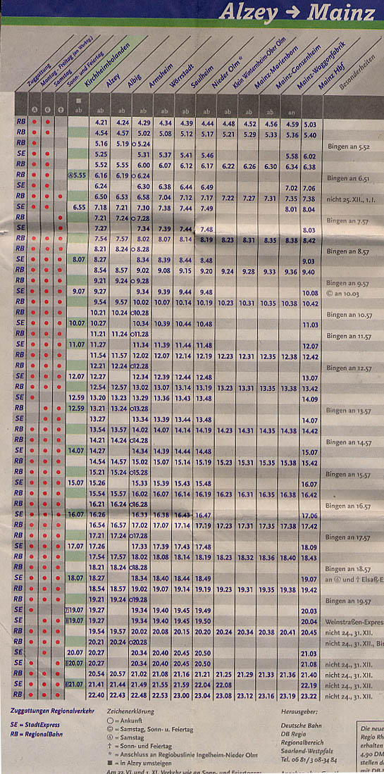 Train schedule from Alzey to Mainz
