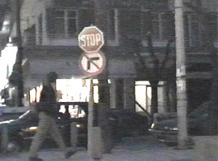 Stop sign, no right turn sign