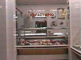 View of counter in a meat market
