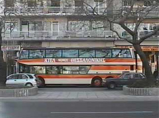 Intercity bus at a stop