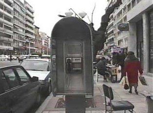 Public phone alone the street