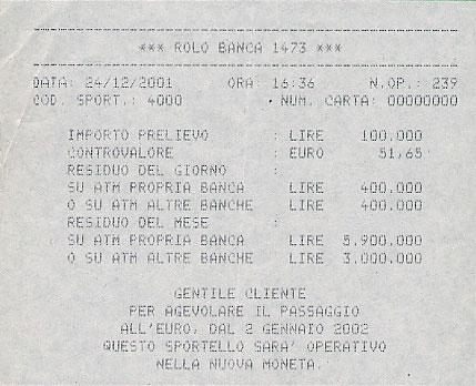 Bank receipt