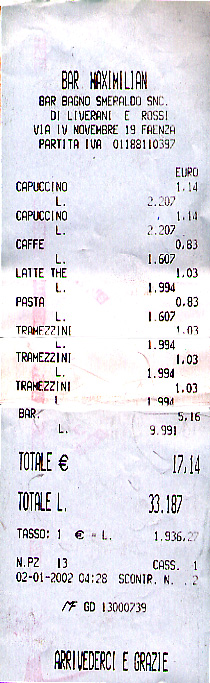 Bar receipt for coffee, tea and sandwiches