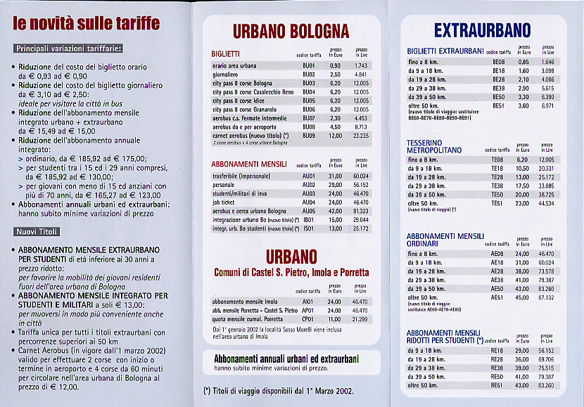 Price list for local and regional buses in and around Bologna