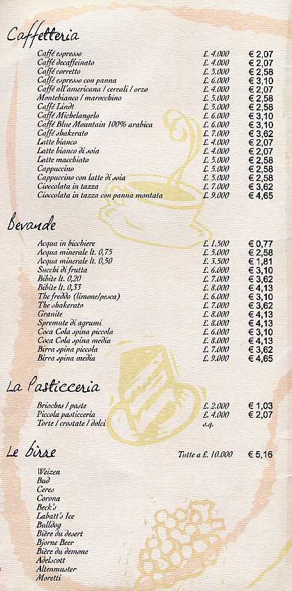 Price lists of different kinds of coffees, drinks, pastries, and beers