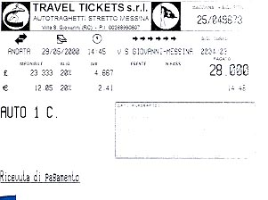 Ferry ticket from San Giovanni to Messina