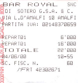 Bar receipt from Amalfi