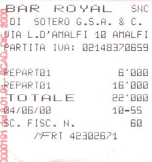 Bar receipt from Amalfi