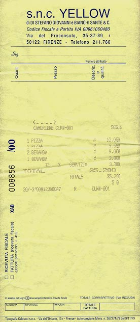 Pizzeria receipt
