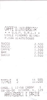 Bar receipt showing 3 juices, 1 coffee and 1 bar item -- probably water or soda
