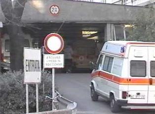 Ambulance entering through ambulance entrance