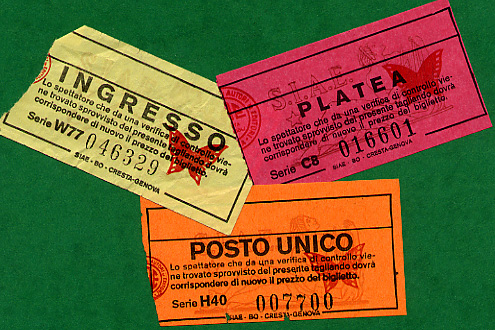 Various admission tickets