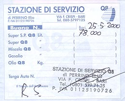 Gas station receipt