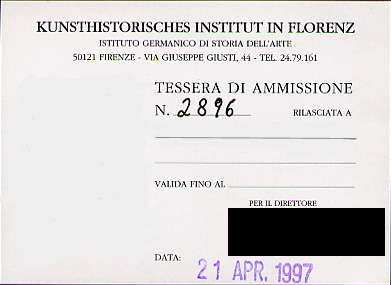 Reader's permit card to the German art history library