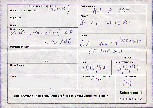 Book request form from one of Siena's university libraries