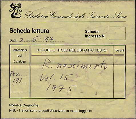 Book request form from a Siena library