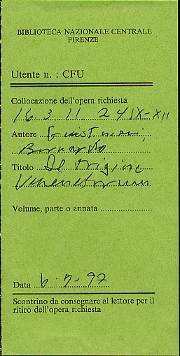 Book request form from the National Library in Florence