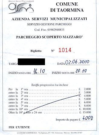 Parking receipt from Taormina