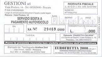 Parking receipt from Pescara