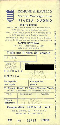 Parking receipt from Ravello