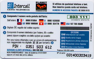 A phone card that is not inserted into the phone