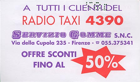 Business card for Radio Taxi in Firenze