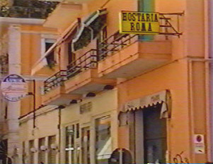 Sign for an 'Osteria' -- a small, casual restaurant