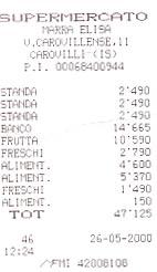 Supermarket receipt