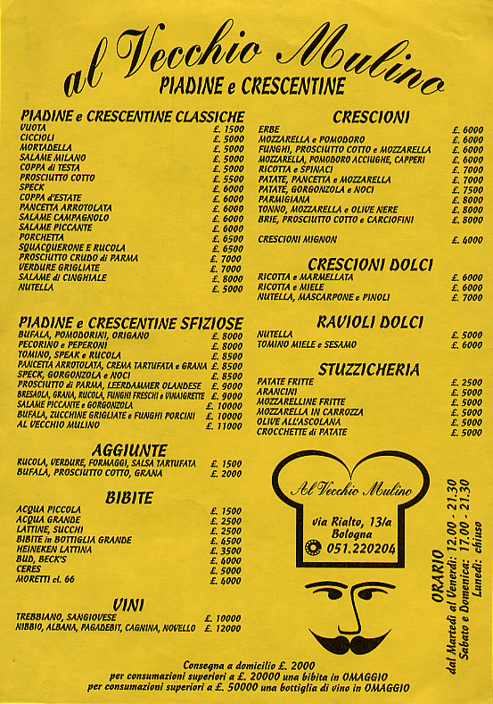 Menu of snacks, sandwiches, and deli items