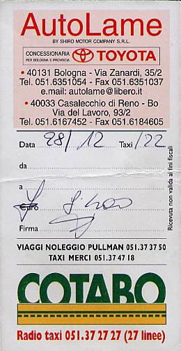 Front of taxi receipt