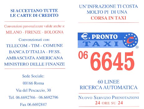 Business card for a taxi company explaining payment methods