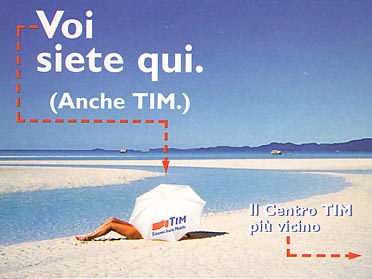 Card indicating the nearest TIM (Telecom Italia Mobile) office